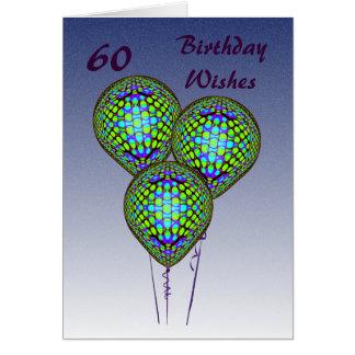Cartão 60th Balões azuis