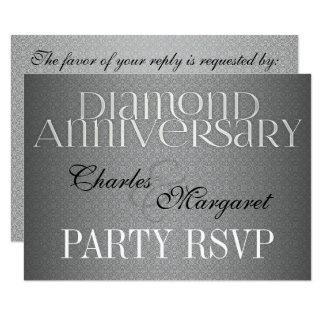 Cartão 60th Casamento de diamante Annivsersary RSVP