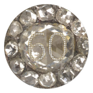 Cartão 60th Casamento de diamante do aniversário do