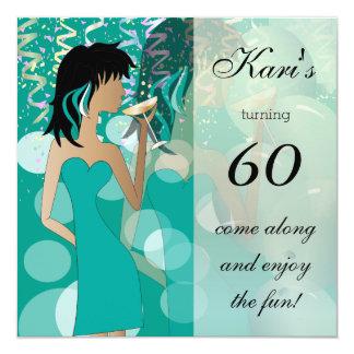 Cartão 60th Cerceta do partido   da menina da festança do