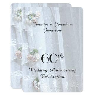 Cartão 60th Festa de aniversário do casamento, laço do