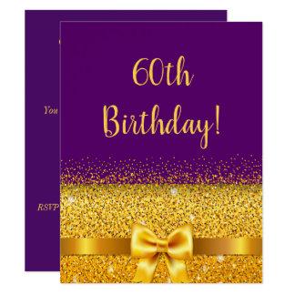 Cartão 60th festa de aniversário na faísca roxa do arco