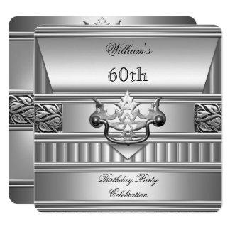 Cartão 60th Metal de prata 2 dos homens elegantes da