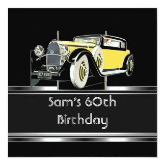 Cartão 60th O carro vintage preto da festa de aniversário