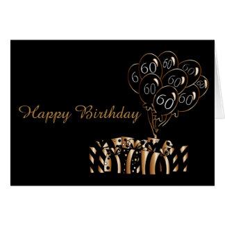 Cartão 60th O preto Balloons palavras do aniversário |