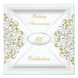 Cartão 60th ouro branco elegante de aniversário de