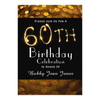 Cartão 60th Sparkler do ouro da festa de aniversário