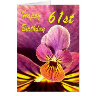 Cartão 61st amor perfeito feliz da flor do aniversário