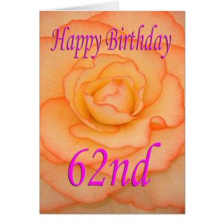 Cartão 62nd flor feliz do aniversário