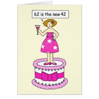Cartão 62nd Humor do aniversário para ela, senhora em um