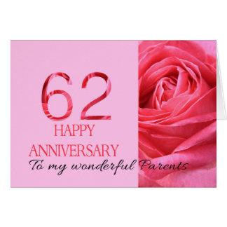 Cartão 62nd rosas felizes do aniversário para pais
