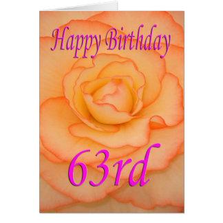Cartão 63rd flor feliz do aniversário
