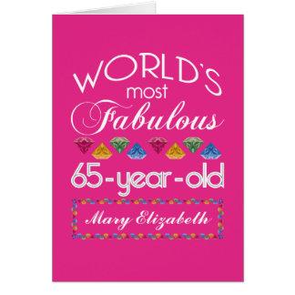 Cartão 65th Aniversário a maioria de rosa colorido