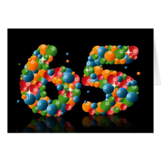 Cartão 65th aniversário com os números formados das bolas