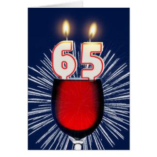 Cartão 65th Aniversário com vinho e velas