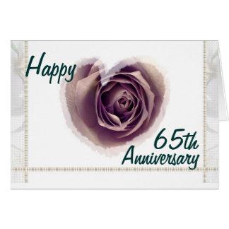 Cartão 65th Aniversário de casamento feliz - coração do