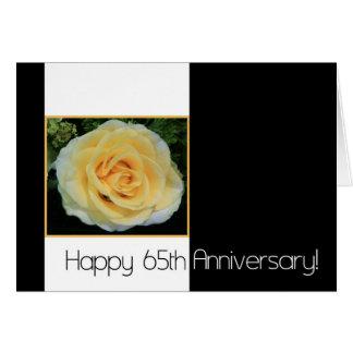 Cartão 65th Aniversário de casamento - rosa amarelo