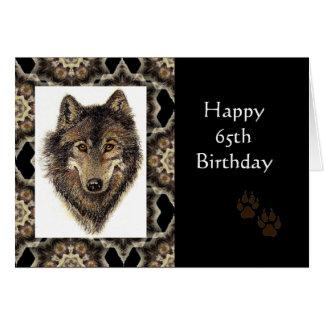 Cartão 65th aniversário feliz com lobo da aguarela