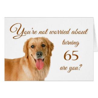 Cartão 65th aniversário feliz, laboratório preocupado