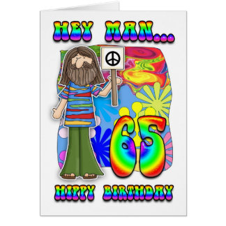 Cartão 65th aniversário Groovy - aniversário do hippy