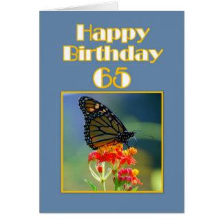 Cartão 65th borboleta de monarca feliz do aniversário