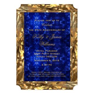 Cartão 65th Chique azul da safira do ouro do aniversário