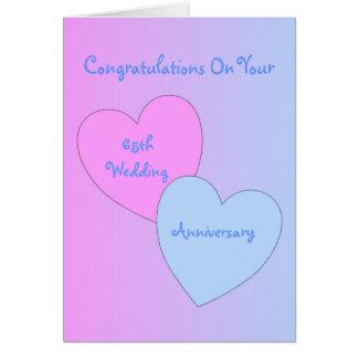 Cartão 65th Corações do aniversário de casamento