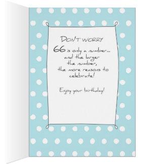 Cartão 66th Bolo de aniversário na cerceta azul com