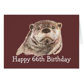 Cartão 66th Humor do aniversário com a lontra bonito da
