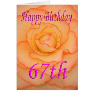 Cartão 67th flor feliz do aniversário