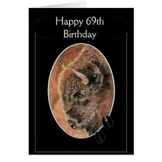 Cartão 69th bisonte feliz engraçado do aniversário,