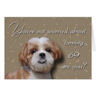 Cartão 69th Cão do aniversário