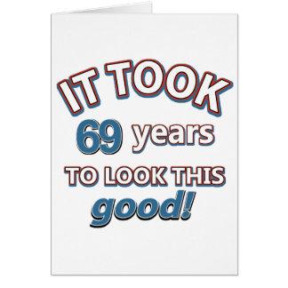 Cartão 69th design do aniversário do ano