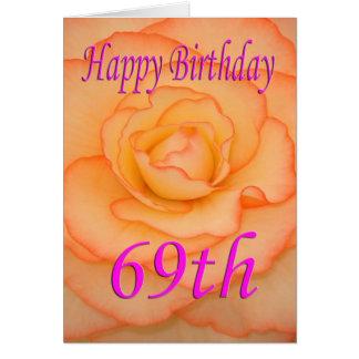 Cartão 69th flor feliz do aniversário