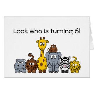Cartão 6o Animais da selva dos desenhos animados do
