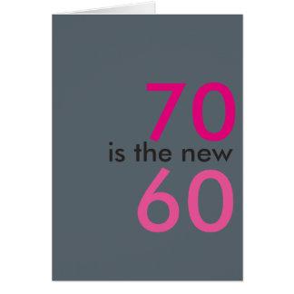 Cartão 70 são os 60 novos, hoo-raio para o aniversário do