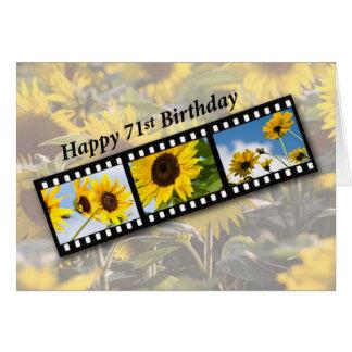 Cartão 71st Girassol Filmstrip do aniversário