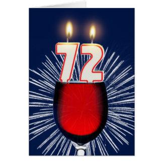 Cartão 72nd Aniversário com vinho e velas