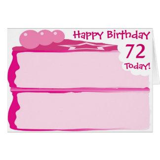 Cartão 72nd aniversário feliz