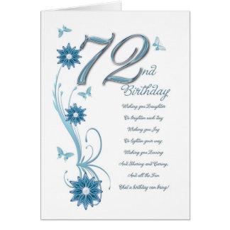 Cartão 72nd aniversário na cerceta com flores e borboleta