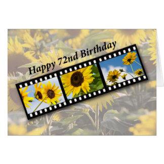 Cartão 72nd Girassol Filmstrip do aniversário
