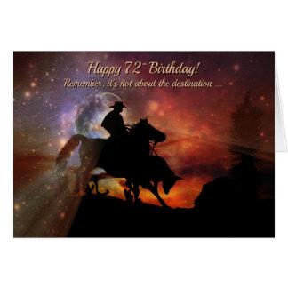 Cartão 72nd vaqueiro feliz do aniversário que monta o