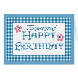 Cartão 75th Aniversário, teste padrão azul do guingão da