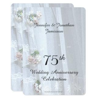 Cartão 75th Festa de aniversário do casamento, laço do