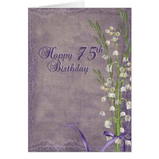 Cartão 75th Lírio do aniversário do buquê do vale