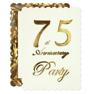 Cartão 75th Marfim do ouro do aniversário do aniversário
