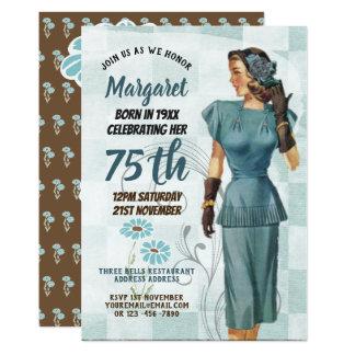 Cartão 75th O aniversário convida a mulher elegante retro
