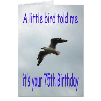 Cartão 75th pássaro feliz da gaivota do vôo do