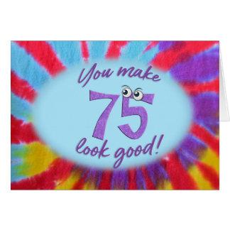 Cartão 75th quadro da tintura do laço do aniversário