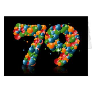 Cartão 79.o aniversário com os números formados das bolas